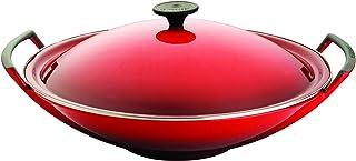 Le Creuset 25104360600460 Wok de Hierro fundido, Redondo, Apto para todas las fuentes de calor, incl. inducción, Rojo(Cereza)