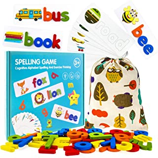 BRABURG See and Spell Learning Toys, 80PCS Matching Letter Puzzles, Sight Words Games, Preschool Learning Educational Toy ...