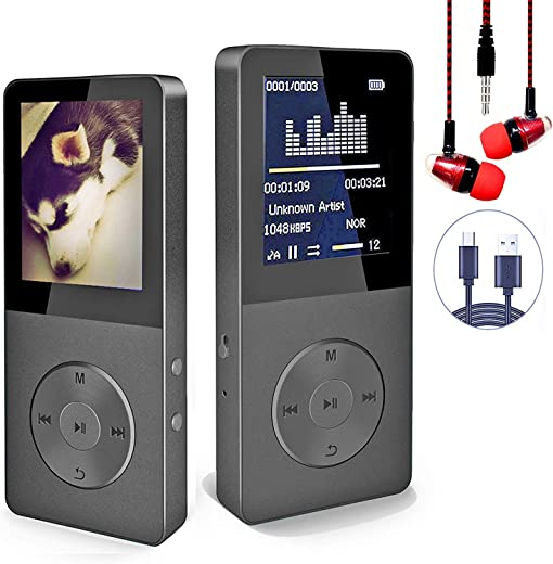 16GB MP3 Player with Bluetooth, Portable Lossless Sound MP3 Music Player with FM Radio Voice Recorder Music Speaker, Support Up to 128 GB…