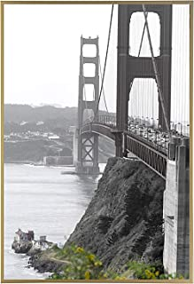 Frametory, 18x24 Metal Art Wall Frame, Aluminum Photo Frame Real Glass Front (Gold)