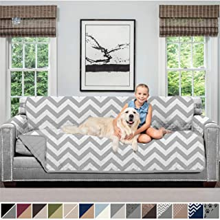 SOFA SHIELD Original Patent Pending Reversible Oversize Sofa Slipcover, 2 Inch Strap Hook, Seat Width Up to 78 Inch Washable Furniture Protector, Couch Slip Cover for Pets, Oversize Sofa, Chevron Gray