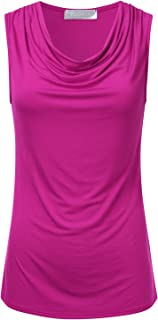 Women's Cowl-Neck Ruched Draped Sleeveless Stretchy Blouse Tank Top (S-3X)