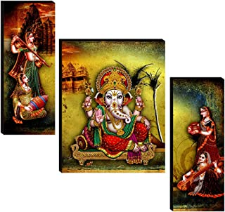 SAF Set of 3 Ganesha modern art wall painting home décor items paintings for living room with frame wall décor painting 12...