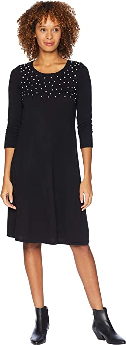 3/4 Sleeve Shift Sweater Dress w/ Pearl Details