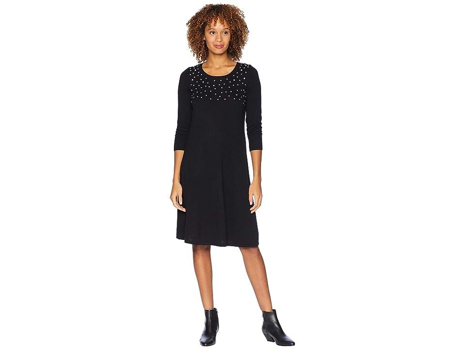 Nine West 3/4 Sleeve Shift Sweater Dress w/ Pearl Details (Black) Women