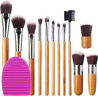 BEAKEY 12+2 Pcs Makeup Brush Set, Premium Bamboo Handle Synthetic Bristles, Kabuki Foundation Eyeshadow Concealer Powder Brush Kit (12 Pcs Bamboo Brushes + 1 Pc Brush Cleaner Egg + 1 Pc Cloth Bag)