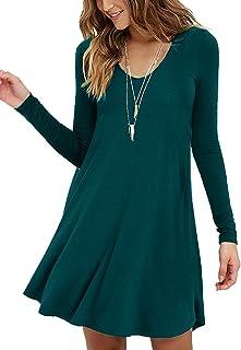 Viishow Women's Casual Swing Simple T-Shirt Loose Dress …