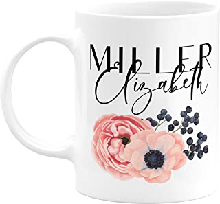 Personalized Coffee Mug Gifts Flower with Your Name - 11oz & 15oz Large Cup with Matching Coaster - Birthday Gifts, Mothers Day Gifts, Father's Day Gifts, Christmas Gifts, Grandma Grandpa Gifts
