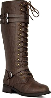 Wild Diva Womens Timberly-65 Lace Up Knee High Boots Cognac