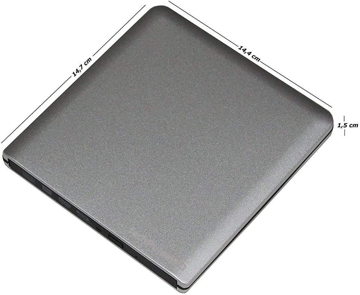 Lecteur externe M-Disc Superdrive Portable DVD-RW CD-RW pour tous les Apple avec processeur M1 MacBook//Pro Mac Mini iMac Aluminium Gris techPulse120 Graveur CD externe USB C 3.1