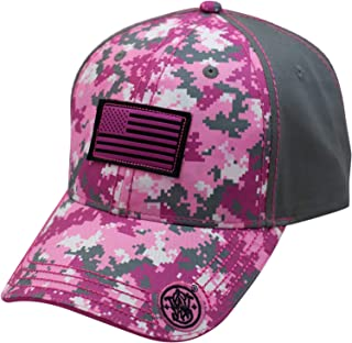 S&W Ladies Pink Digi Camo Flag Patch Cap - Officially Licensed
