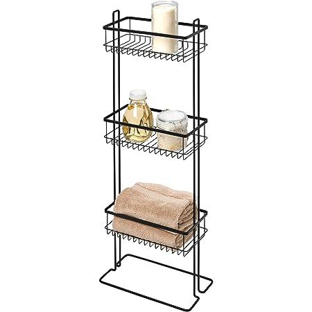 iDesign Everett Organizador de baño con 3 cestas, repisa Metal con pie para Guardar Productos de Belleza, estantería Multiusos para Ducha, bañera o ...