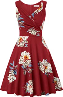 GRACE KARIN Women 50s Vintage Sleeveless V-Neck A-Line Swing Party Cocktail Dress CL698