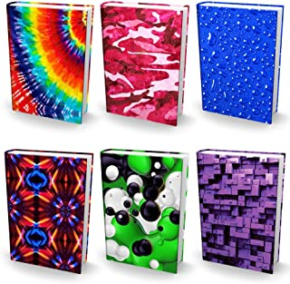 "Book Sox Stretchable Book Covers – Bundle of 6 Durable Hardcover Protectors For 9"" x 11"" Jumbo Textbooks – Washable & Reusable Non-Adhesive Nylon Fabric School Book Jackets In Jumbo New Print 2018"