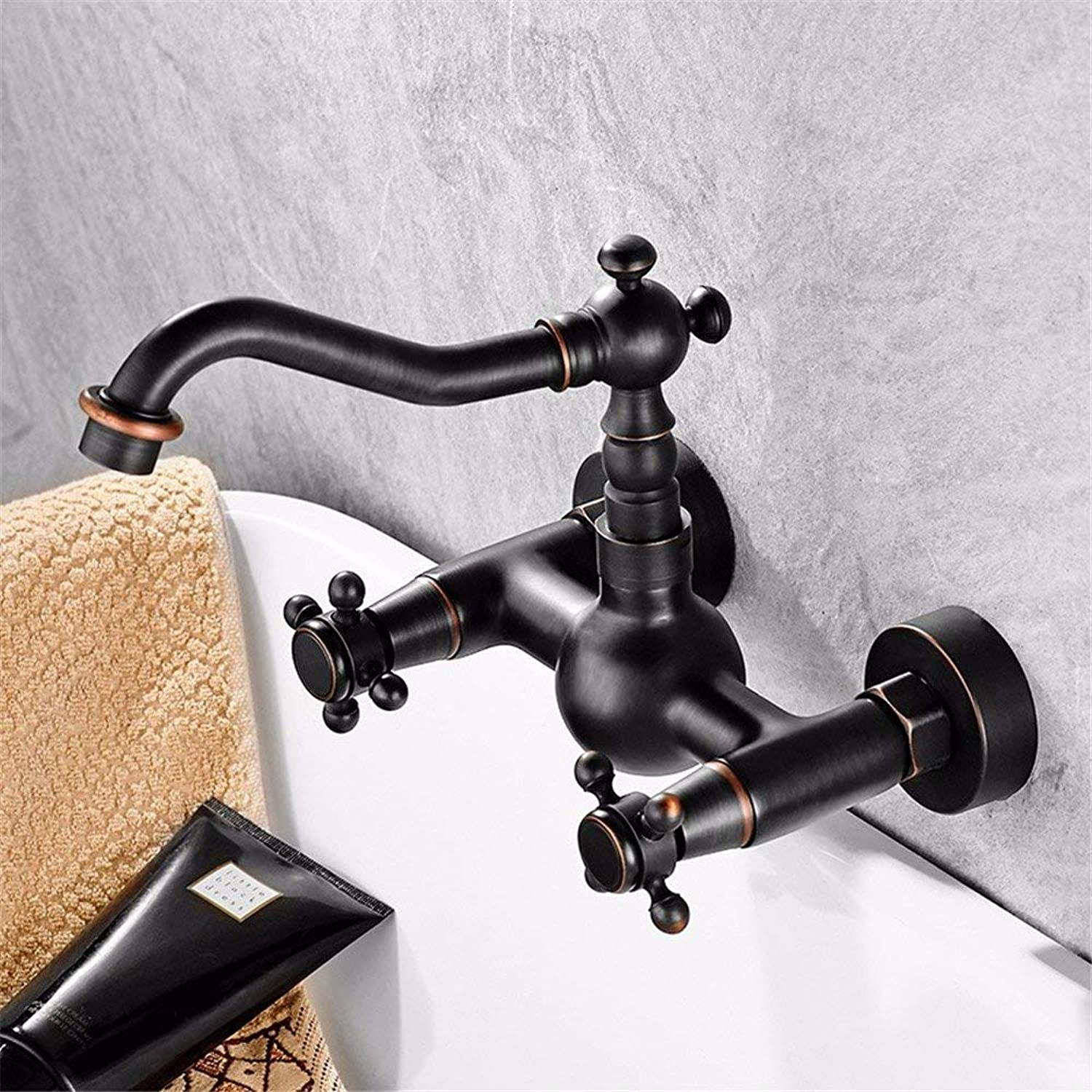 Oudan Kitchen bathroom copper black bronze wall faucet hot and cold wall mounted kitchen bronze wall faucet (color   -, Size   -)