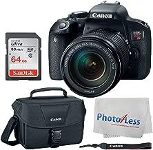 Canon EOS Rebel T7i Digital SLR Camera + EF-S 18-135mm f/3.5-5.6 IS STM Lens + Canon EOS Shoulder Bag 100ES (Black) + SanDisk Ultra SDXC 64GB 80MB/S Class 10 Flash Memory Card + Deluxe Canon Bundle