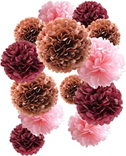 12PCS Blush Pink Burgundy Rose Gold Party Tissue Pom Poms Paper Ball Garland for Maroon Wedding Bridal Shower Bachelorette Party Baby Shower Centerpieces Birthday Graduation Party Hanging Decoration