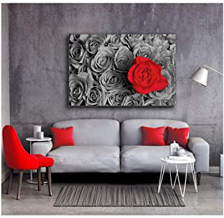 Orlco art Black and White Pictures with Colour red Rose HD Prints Posters Home Decor Wall Art Pictures Red Tree Art Scenery Landscape Flower Paintings Framework (Red, 24x36inch with The Frame)