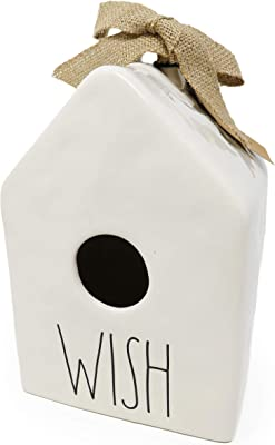 Rae Dunn By Magenta Wish Ceramic LL Decorative Square Birdhouse with Burlap Ribbon 2020 Limited Edition