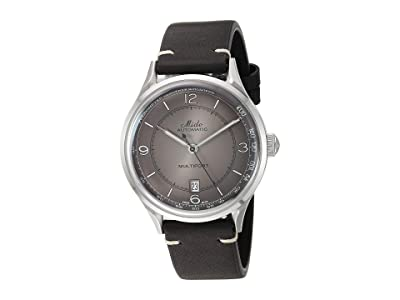 Mido Multifort Patrimony Stainless Steel Case and Black Leather Strap M0404071606000 (Silver) Watches