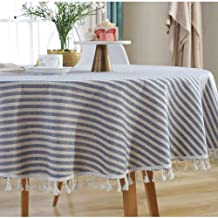 Lahome Stripe Tassel Tablecloth - Heavy Weight Cotton Linen Table Cover Kitchen Dining Room Restaurant Party Decoration (R...
