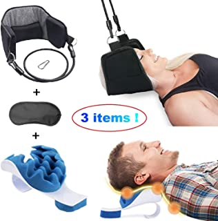 Neck Hammock Cervical Traction Device by BeJoy. Head Support Pain Relief with Foam Chiropractic Pillow which Cervical Spine Alignment. Portable Orthopedic Machine Back Collar Corrector Body Posture