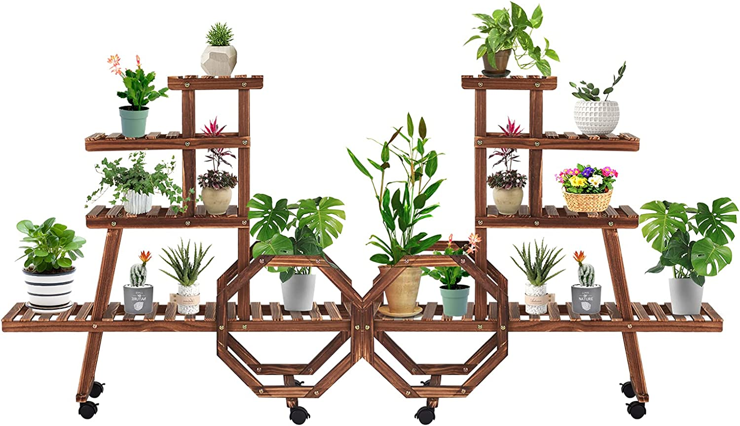 Kinsunny Ranking TOP9 Plant Stand Rack Max 90% OFF with 4 Flowe Tier Rolling Wheels