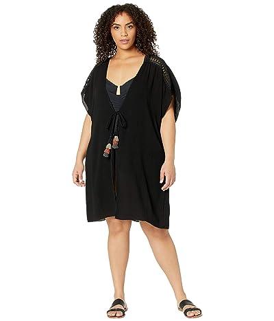 BECCA by Rebecca Virtue Plus Size Globe Trotter Crinkled Rayon Kimono Cover-Up (Black) Women