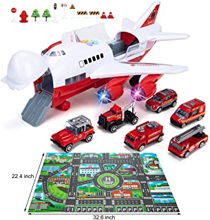 Car Toys Set with Transport Cargo Airplane, Educational Vehicles Fire Fighting Car Set for Kids Toddlers Child Gift for 3 4 5 6 Years Old, Large Play Mat, 6 Trucks Large Plane 11 Road Signs