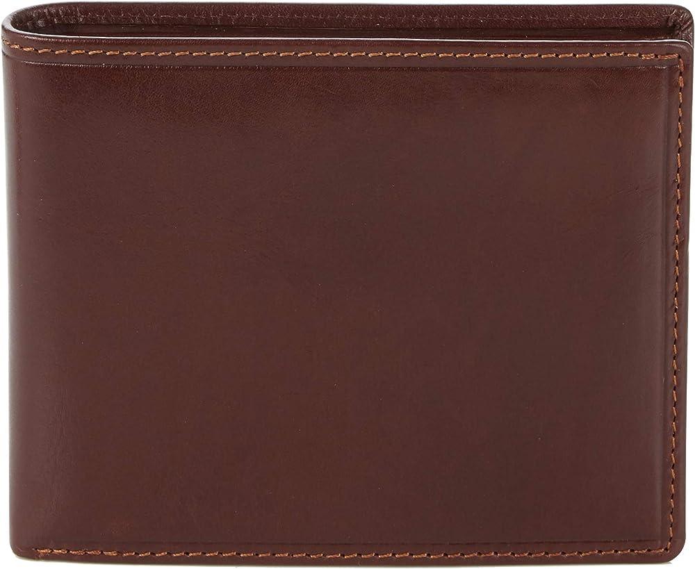 Visconti, porta carte di credito, portafoglio per uomo, in vera pelle, con protezione rfid, marrone