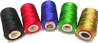 GOELX Silk Thread for Jewelery-Making 5 Spools - Black,Red,Peacock Blue,Green,Golden