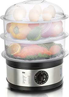 Elite Gourmet Electric Food Steamer with BPA-Free 3 Tier Nested Trays w/Egg Rack, 650W Fast Heating, EST-2301, Stainless Steel