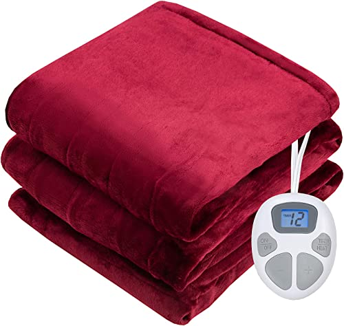 """popular Giantex Electric Heated Blanket, outlet online sale 62"""" x 84"""" Flannel Electric Blanket Throws, 10 Heating Levels, wholesale 8 Hours Auto Off, Fast Heating ETL Certification & Machine Washable Design (Red) outlet sale"""