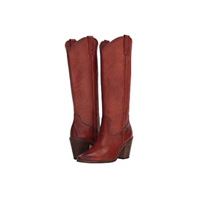 Frye Faye Stitch Pull-On (Red Clay Washed Antique Pull-Up) Cowboy Boots