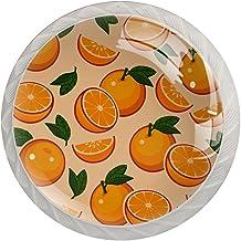 Lade Handgrepen Kabinet Knoppen Rond Een Pack van 4 Lade Knoppen, Oranje Met Groen Blad