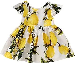 Toddler Baby Girls Lemon Print Short Sleeve Dress Fruit Backless Sundress Crew Neck Tutu Skirt Dress