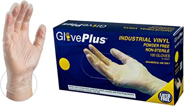 AMMEX GlovePlus Industrial Clear Vinyl Gloves, Box of 100, 4 mil, Size Medium, Latex Free, Powder Free, Food Safe, Disposable, Non-Sterile, IVPF44100-BX