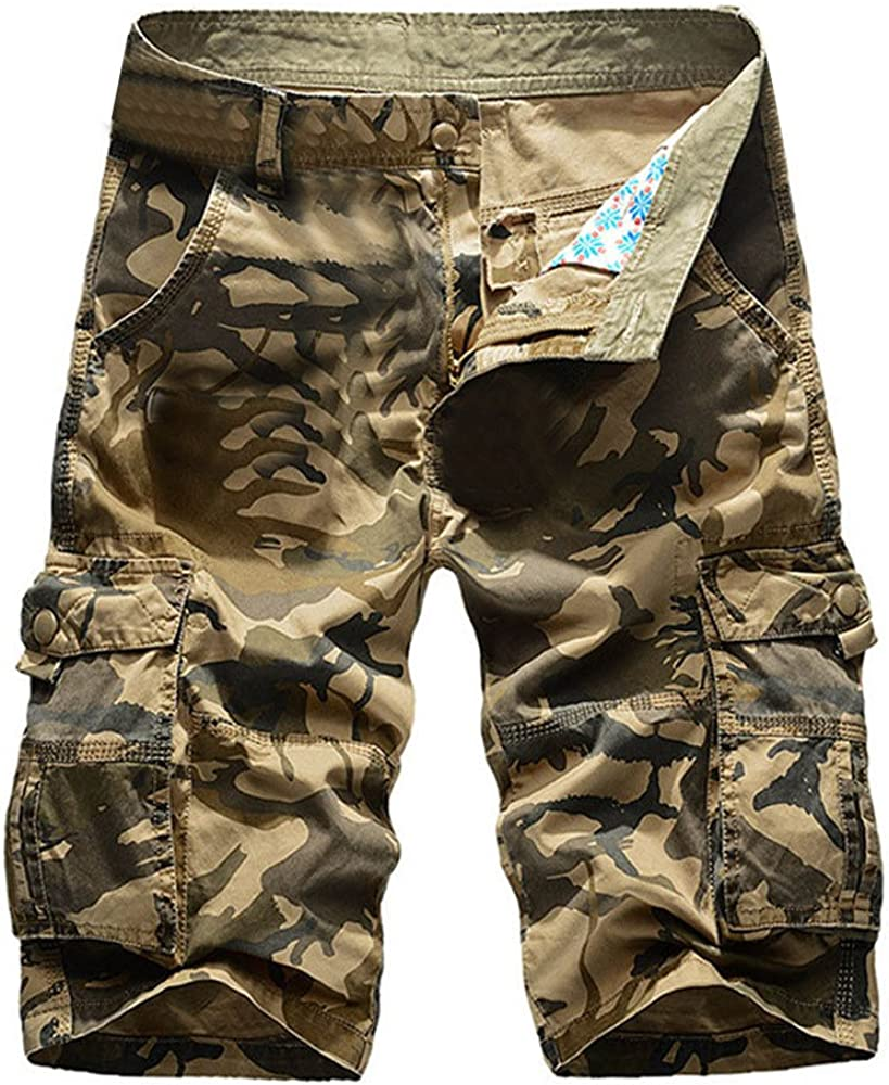 MODOQO Army Tactical Cargo Shorts, Camo Relaxed Fit Lightweight Cotton Pant with Pocket