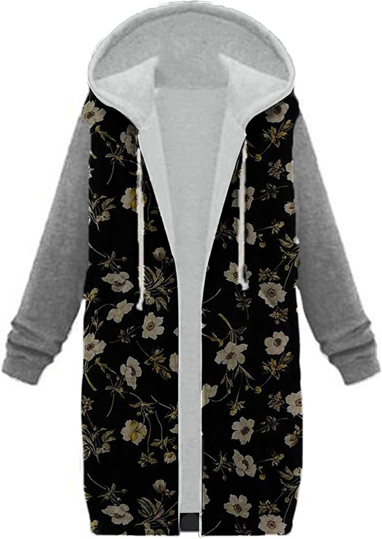Women Warm Hoodie Long Sleeve Zipper Vintage Floral Print Cotton Blend Splicing Long Cardigan Coat Outerwear