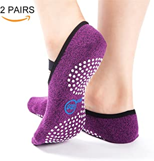 Yhao Non Slip Skid Yoga Pilates Socks with Grips Cotton for Women and Men Pilates,  Fitness,  Barre,  Dance (2 Purple)