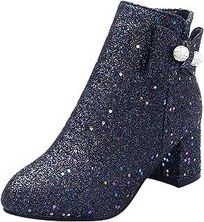ELEEMEE Women Block Heel Short Boots Zip