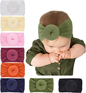 inSowni 8pcs Solid Newest Stretchy Nylon Ball Bow Turban Headbands Headwraps Hair Bands Accssories for Baby Girls Toddlers...