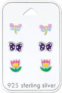 925 Sterling Silver Hypoallergenic (SET OF 3) Flower , Butterfly, Dragonfly Set Stud Earrings for Girls or Women 30771