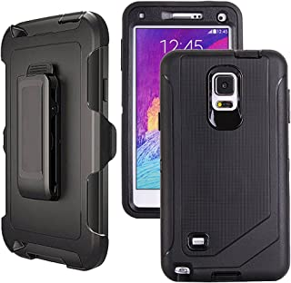 Galaxy Note 4 Case Heavy Duty,Harsel Defender Series Shockproof Dustproof Dropproof 3 Layer Rugged Protective Shell Case w/Built-in Screen Protector & Belt-Clip for Samsung Galaxy Note 4 (Black)