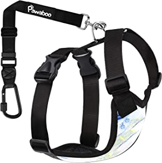 Pawaboo Dog Safety Vest Harness, Pet Car Harness Vehicle Seat Belt with Adjustable Strap..