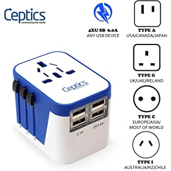 Universal Travel Adapter Plug World Power Ceptics W/ 4 USB Ports - Charge Cell Phones, Smart Watches, iPhones All over the World - For International Europe, China, UK, UAE, Australia - Type A, C, G, I
