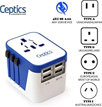Ceptics Travel Adapter Plug World Power W/ 4 USB Ports - Charge Cell Phones, Smart Watches, iPhones All over the World - For International Europe, China, UK, UAE, Australia - Type A, C, G, I - (UP-9KU)