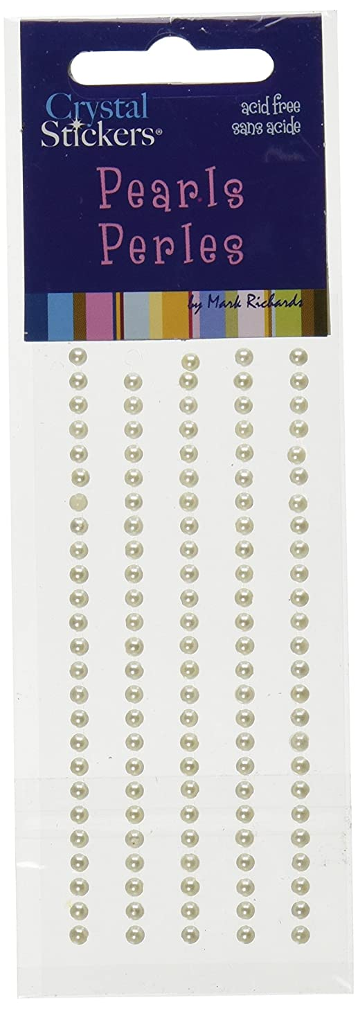 Mark Richards Elements Pearl Stickers 1951 120-Piece Self-Adhesive Embellishment, 3mm, Natural Pearl