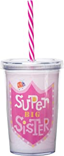 C.R. Gibson BITS-16434 'Super Big Sister' Pink Insulated Small Plastic Tumbler for Girls, 8 oz.