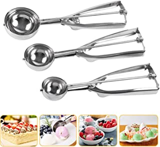 Besmon Cookie Scoop Set, Stainless Steel Cookie Scoops with Trigger Release, Include Large-Medium-Small Sizes Balls for Perfect for Cookie, Ice Cream, Cupcake, Muffin, Meatball